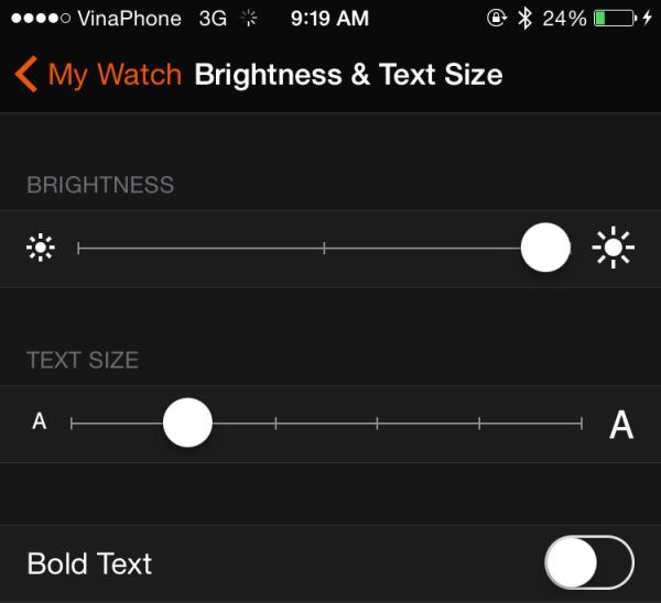 Brightness & Text Size Apple Watch