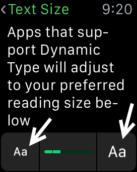 Apple Watch text size setting
