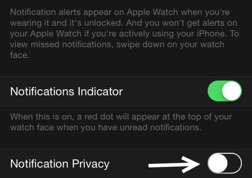 Apple Watch notification privacy