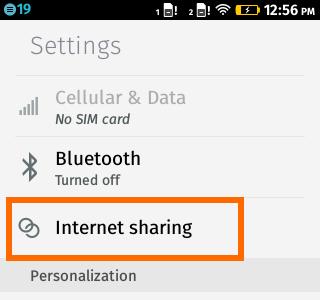 Internet Sharing Option - Firefox OS