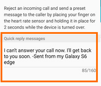 Samsung Galaxy S6 Edge Quick Reply Message