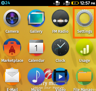 Settings icon on Firefox OS
