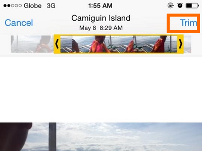 Trim icon on Video - iPhone 6 ios8