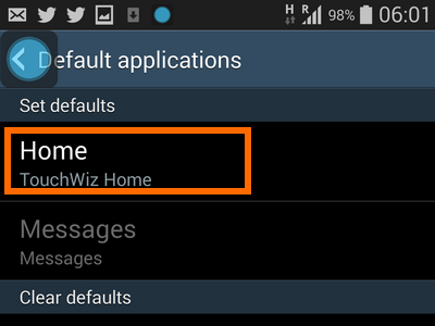 Android - Settings - General Tab - Default application - Set a Default App