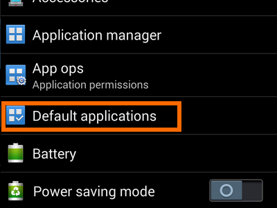 Android - Settings - General Tab - Default application