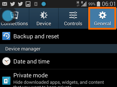 Android - Settings - General Tab