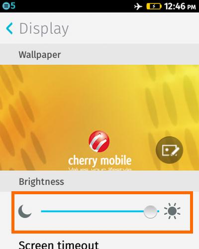 Firefox OS - Settings - Brightness Adjustment Ruler