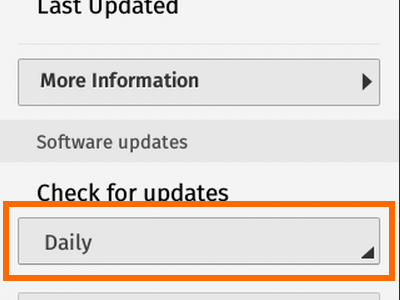 Firefox OS - Settings - Check for Updates - Daily