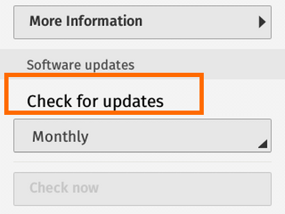 Firefox OS - Settings - Check for Updates