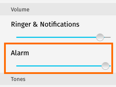 Firefox OS - Settings - Sounds - Alarm