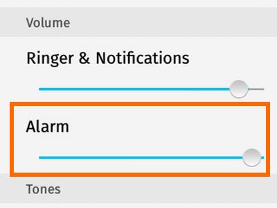 Firefox OS - Settings - Sounds - Alarm