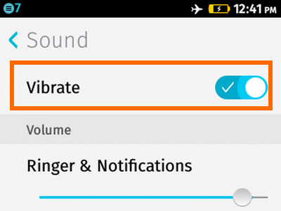 Firefox OS - Settings - Sounds - Vibrate