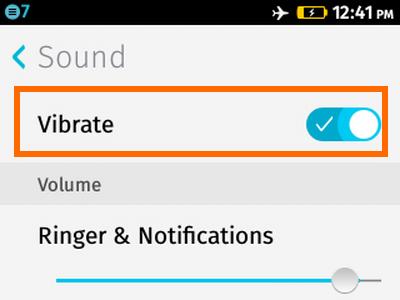 Firefox OS - Settings - Sounds - Vibrate