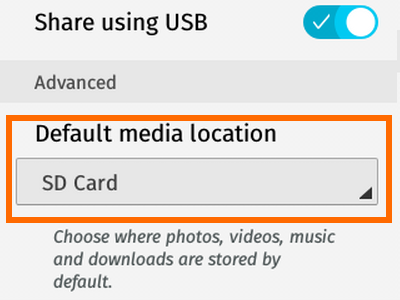 Firefox OS - Settings - Storage - Media Storage - Default Media Location