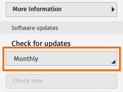 Firefox OS - Settings - Updates Drop Down