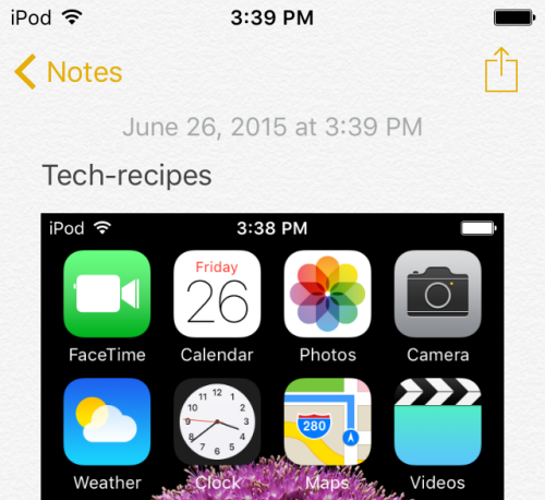 iOS add photo to notes app