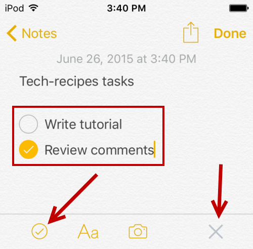 iOS add checklist to notes app