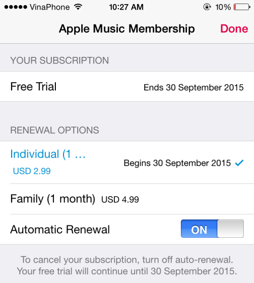 Cancel Apple Music Subscription
