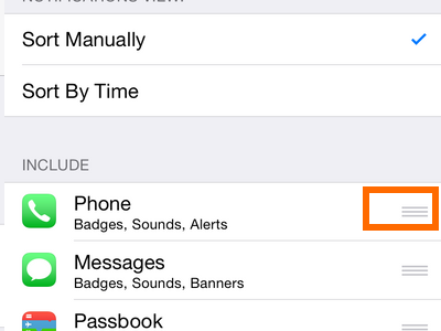 iPhone 6 - Settings - Notifications Option - 3 Line Menu