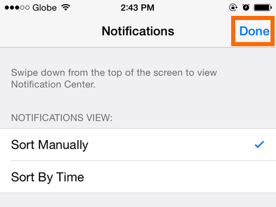 iPhone 6 - Settings - Notifications Option - Done button