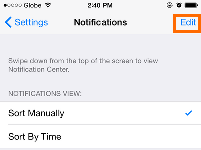 iPhone 6 - Settings - Notifications Option - Edit button