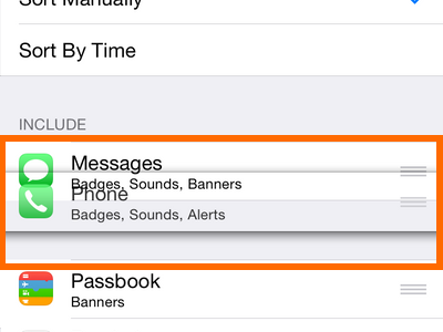 iPhone 6 - Settings - Notifications Option - Move Notifications
