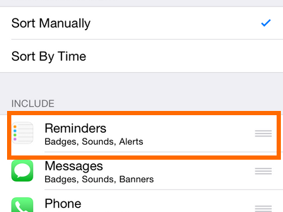 iPhone 6 - Settings - Notifications Option - Notifications arranged