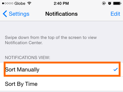 iPhone 6 - Settings - Notifications Option - Sort Manually