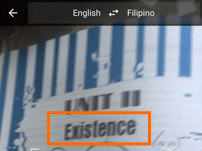 iPhone - Google Translate  - Camera on Selected Image