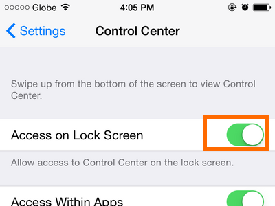 iPhone - Settings - Control Center - Access on Lock screen