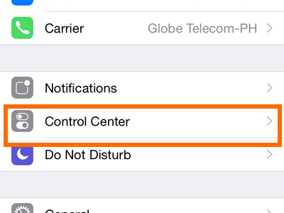 iPhone - Settings - Control Center