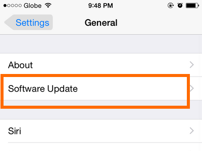 iPhone - Settings - General - Software Update option