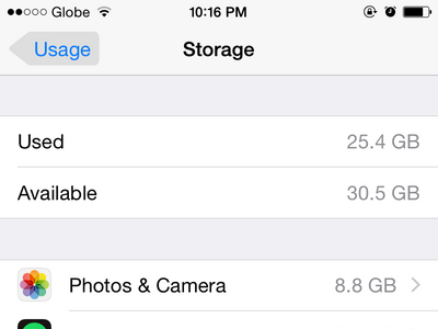 iPhone - Settings - General - Usage - Storage Usages