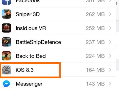 iPhone - Settings - General - Usage - iOS icon on Storage Usage