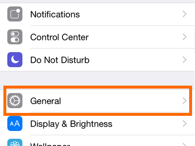 iPhone - Settings - General