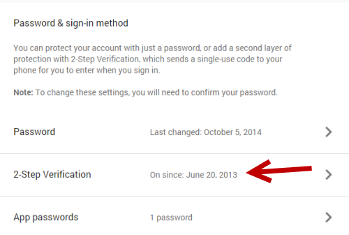 Google 2-step verification setting