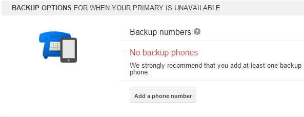 add backup numbers 2-step verification
