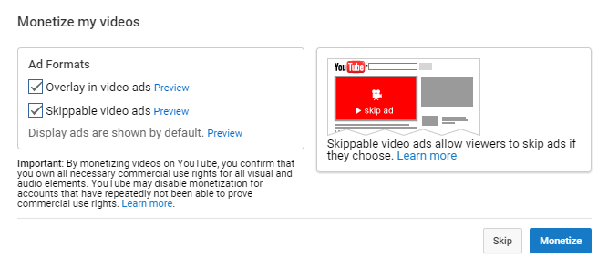 configure YouTube ad formats