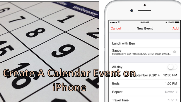 how do i create an event in the calendar app on my iphone