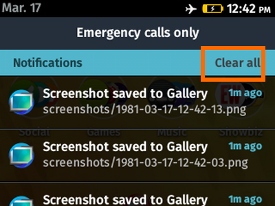 Firefox OS - Clear All Notifications
