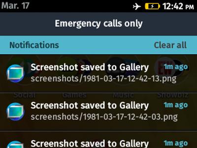Firefox OS - Notifications Screen