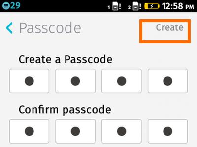 Firefox OS - Settings - Passcode Creation - Create