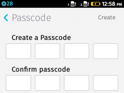 Firefox OS - Settings - Passcode Creation