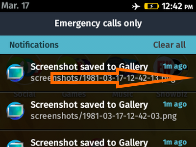 Firefox OS - Swipe Notification to Right to Delete