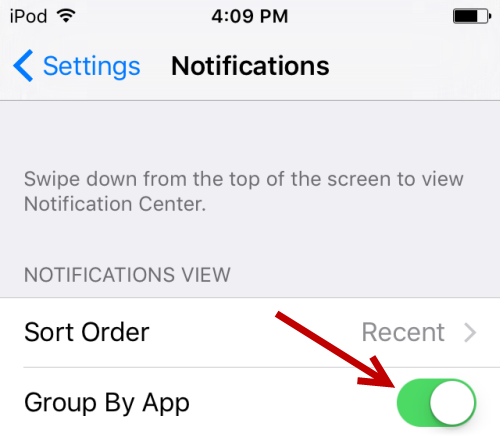 iPhone group notifications by app