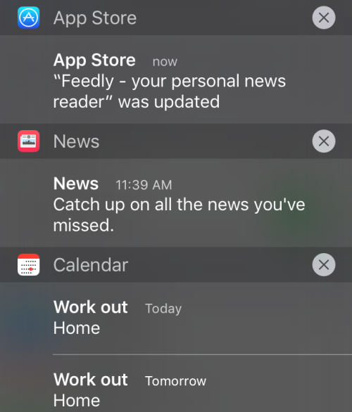 iPhone sort notifications by app