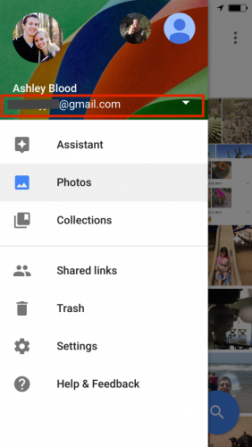 Google Photos Menu- Add Account