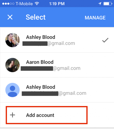 Google Photos Add Account