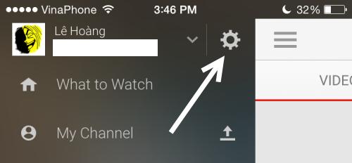 YouTube app settings