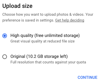 Google Photos Upload Options